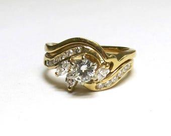 diamond engagement set 0ne carat total 14k yellowgold