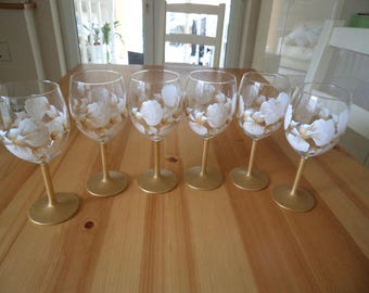 Set of Six Hand Painted Gold and White Sweet Pea Wine Glasses