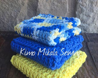 Crocheted Dishcloths - Bright Yellow and Blue - 100% Cotton - Set of Three