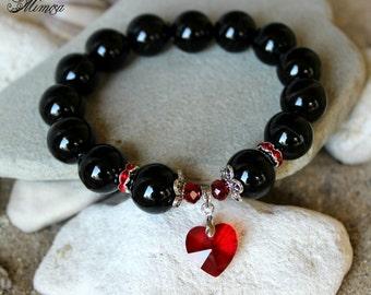 Agate Bracelet, 14mm Agate Bracelet, Black Agate Bracelet, Agate Wrist Mala, Chakra Healing Bracelet, Red Heart Bracelet, Black Red Bracelet
