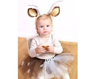 Fawn costume, Deer costume, tutu, brown skirt, Fawn outit, Deer outfit, Halloween outfit, Halloween costume baby fawn, Baby deer, Deer horns