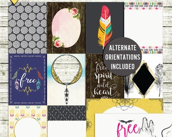 SUMMER SALE - Free Spirit - Journal Cards - Instant Download - Printable journaling cards for Project Life and digital scrapbooking