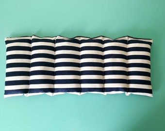 Rice bag / navy blue and white stripe / rice heating pad / pain relief/  heat and cold therapy pack / relaxation / microwavable