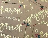 Custom name christmas gift tag sets of 4