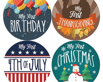 My First Holiday Baby Milestone Stickers, Baby First Holiday Stickers, Baby Monthly Stickers, Baby Shower Gift, Thanksgiving, PetiteFolio