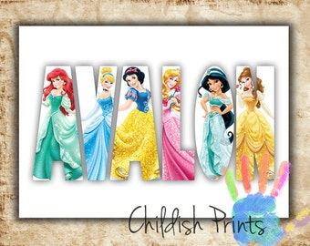 personalised DISNEY PRINCESS character name art gift idea printable - ariel belle jasmine rapunzel cinderella aurora