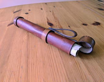 Leather Scroll Case (Decorated, Vertical Hanging)