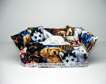 Puppies fabric tissue box cover.