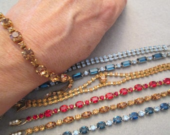 Fabulous Vintage signed WEISS Rhinestone Bracelets>> New Old Stock, never worn>> So Stunning...looks like real stones