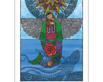 Angel and Mermaid Art Print Fly or Swim, Spiritual Message 12x16 Lady of Guadalupe