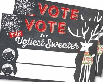 Ugly Sweater Voting Cards - instant download diy printable digital design