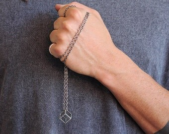 Mens Silver Necklace Cube Pendant Man Jewelry