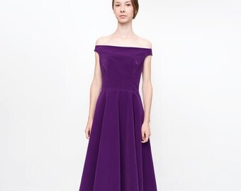 Purple velvet off shoulder midi evening minimalist dress/ velvet gown dress/ minimalist clothing/ midi dress