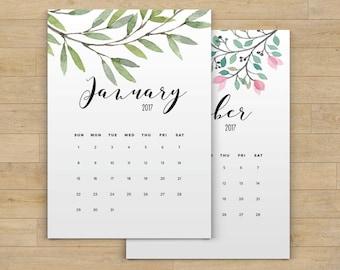 Printable Calendar 2017, Floral Calendar Printable Planner 2017 PDF, A4 UsLetter A5 Calendar Printable Wall Calendar Flower Instant Download