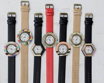 Handpainted Watches -Round - Coral/ Black and White Stripe- In Stock - ships out in 1-3 business days!