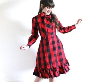 ON SALE Buffalo Plaid 1960s Dress / 60s Dress / 60s NOS Big Bow Red Plaid Party Dress