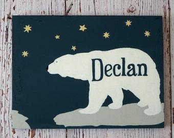 Affiche bois ours polaire - décoration prénom - ours polaire nom - décoration chambre bébé - décoration chambre enfant - cadeau bébé