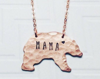 Mama Bear Necklace - Hand Stamped Necklace - Gift For Mom - Gift For Her - Christmas Gift - Copper Rose Gold - Heart