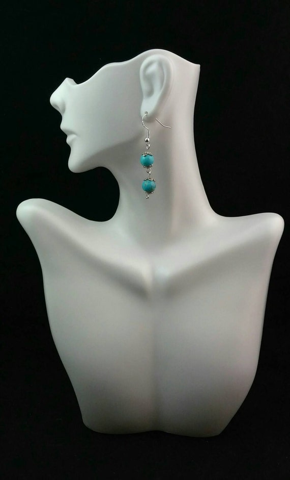 Turquoise beads 925 Sterling Silver Earrings-  Silver Earrings- Turquoise Earrings