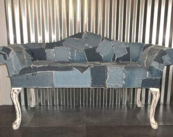 French Provinical Settee Patchwork Denim Loveseat Shabby Cottage Chic Sofa Entryway Bench Denim Furniture
