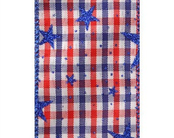"2 1/2"" Liberty Patriotic Check Ribbon - WE - Sold in 25 Yard Rolls"