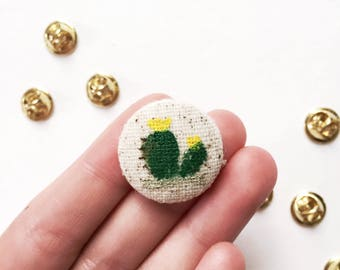 Hand Painted Fabric Cactus Pin Button