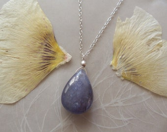 """Tanzanite Gemstone Smooth Drop Pendant on Delicate Sterling Silver Chain Necklace ~ 19"""" Length"""