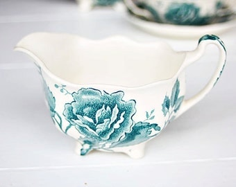 "Vintage Johnson Brothers ""English Chippendale Green"" Creamer - Chintz Creamer, Chippendale Creamer, English Creamer, Pretty Creamer"