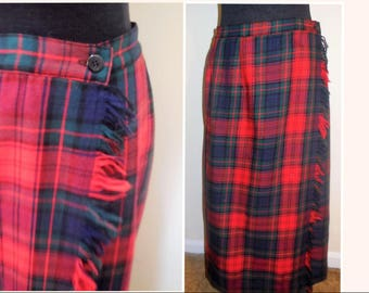 Skirt Wool Plaid Size 14 Red Blue Green Lined Lady's Buttoms Classic Style Woman;s Clothing Cold Weather Wonter Wear Retro