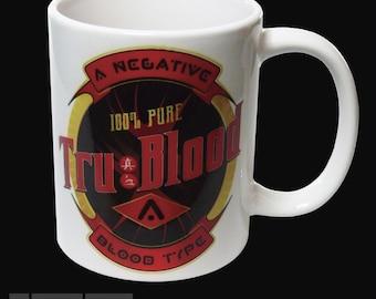 White Ceramic MUG - True Blood Bottle Logo - Printed Both Sides - UK Made
