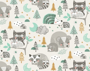 QUILTING COTTON FABRIC Blend Sleepyheads in Blue by Maude Asbury Sold by the 1/2 yard