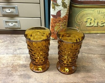 Vintage Glasses Tumblers Amber glass Set of 2