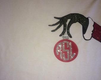Christmas grinch monogram long sleeve shirt