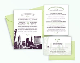 Cleveland, Ohio City Skyline 5-Piece Wedding Invitation Package
