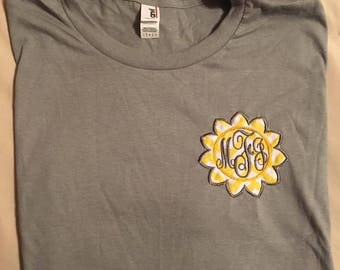 monogram tshirt   sunflower design