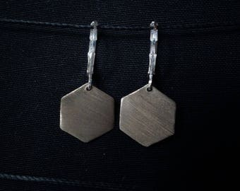 Earrings, 925 Silver hexagonal minimalist geometric