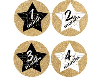 Baby Monthly Onesie Stickers, Gold and Black Onesie Stickers, Monthly Baby Stickers, Gold and Black Stars