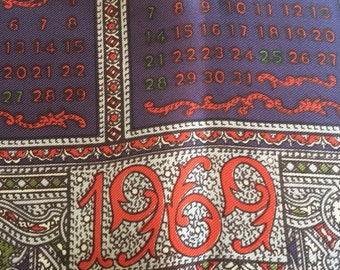 1969 Vintage calendar scarf, hand rolled Made in Japan