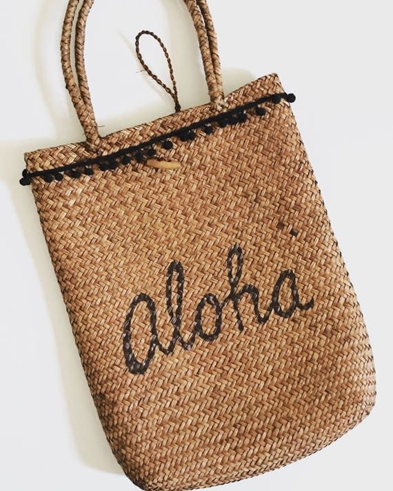 Aloha Straw Bag |Pom pom bag | Aloha bag | Hawaii Bag| Straw bag | Beach bag | black bag |