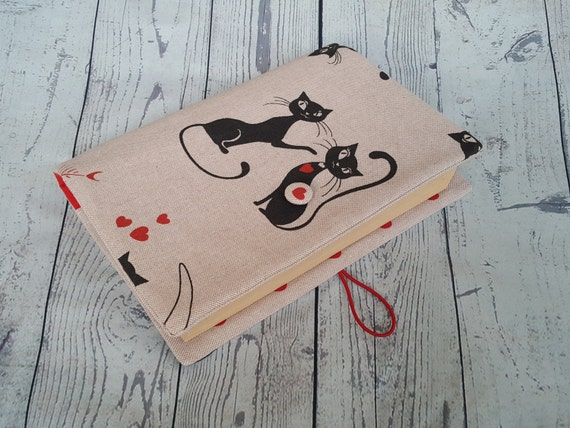 Fabric book cover, Romantic Cats, bible cover, book cover, notebook cover, cotton book cover, fabric journal cover, traveler book cover