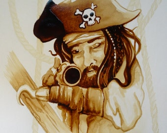 Pirate Coffee Painting