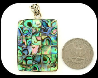 Estate Huge Mosaic Abalone 925 Sterling Silver PENDANT