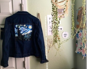 Starry Night Denim Jacket Size S-M
