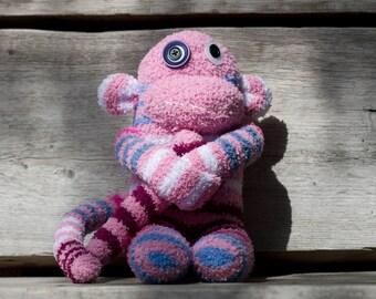 Handmade plush monkey, sock monkey with button eyes (pink, striped)