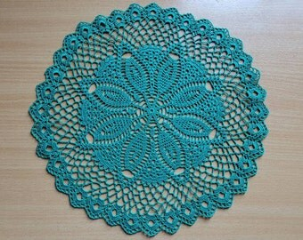 Crochet emerald color Round Doily Cotton Centerpiece Crochet Home Decor Table Decor made in Lithuania