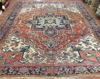Antique Persian Heriz rug-3521