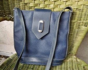 French Shoulderbag  vintage-   - shoulderbag 90's,  Blue bag