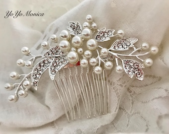 Crystal Rhinestone Bridal Hair Comb, Wedding hair comb, Pearl bridal hair comb, bridal hair accessories, crystal hair comb, bridal barrette