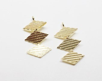 P0535/Anti-Tarnished  Gold Plating Over Brass/ThreeTextured Rhombuses Pendant/12x23mm/2pcs