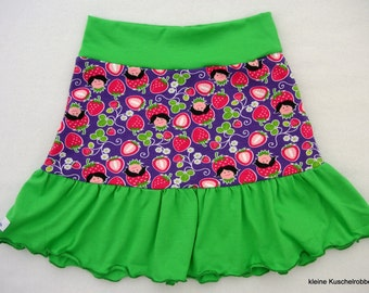 Rock, tiered skirt request size, strawberries, purple